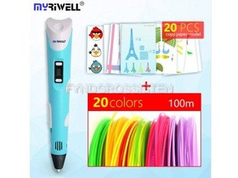 "Myriwell 2nd Generation LED DIY 3D Pen ""blue A100m 20mode"" Fri Frakt Helt Ny"