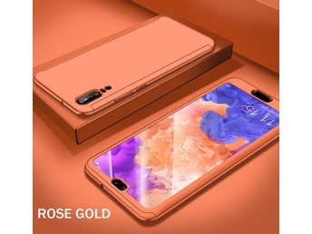 Huawei P20 Lite - 360 Hard Thin Full Case+Tempered  Screen Protector-Rose Gold