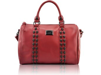 HANDVÄSKA Stunning Skull Studded Barrel Bag
