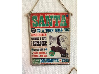 "Retro metallskylt ""Santa to a town near you.........""Perfekt till JUL."