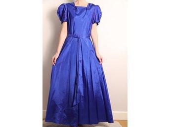 e187d36f76e7 vintage KLÄNNING 30-tal / M Siden ? Royal blue blå Puffärm Maxi dress lång  kjol