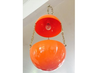 LAMPA, ampel, växtlampa, hänglampa, orange, retro 60-/70-tal