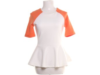 H&M, Topp, Strl: 36, Vit/Orange, Polyester