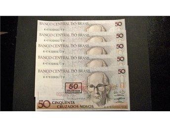 (09) BRAZILIEN 50/50 CRUZADOS 1990 UNC 5 stycken - Luleå - (09) BRAZILIEN 50/50 CRUZADOS 1990 UNC 5 stycken - Luleå