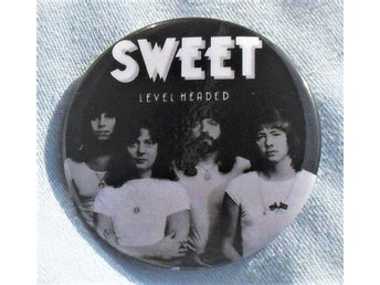 SWEET - Level Headed - (STOR Button Badge / Pin/Knapp) 70-tal, Skägg-Glam, ;-)