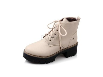Dam Boots Solid Lace Up Women Motorcycle Boots Beige 34