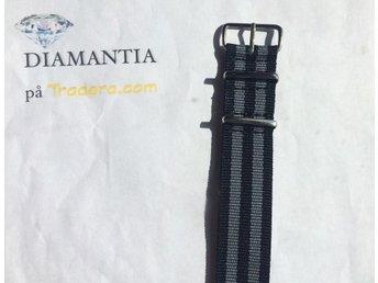 22 mm -- NYTT -- Bond nato -- Grå / svart -- klockarmband armband NATOband band - Boliden - 22 mm -- NYTT -- Bond nato -- Grå / svart -- klockarmband armband NATOband band - Boliden