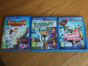 PS VITA SPEL : RAYMAN ORIGINS, LITTLE BIG PLANET & TEARAWAY