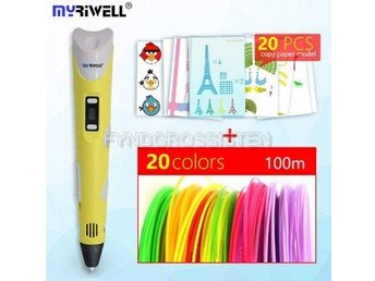 "Myriwell 2nd Generation LED DIY 3D Pen ""yellow A100m 20mode"" Fri Frakt Helt Ny"