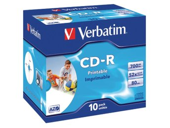 CD-R Verbatim AZO 52x 10p 700MB, JC, Printable