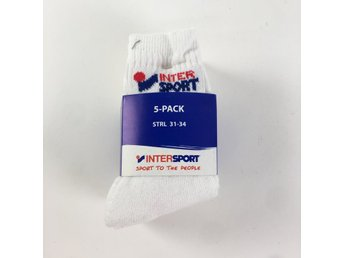 Intersport, Strumpor, 5-Pack, Strl: 31-34, Vit