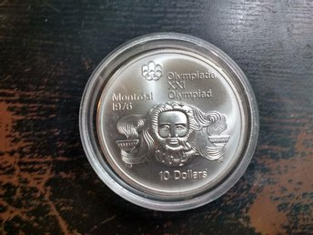 10 Dollars - Elizabeth II Head of Zeus 1976 STORT SILVER PROOF.