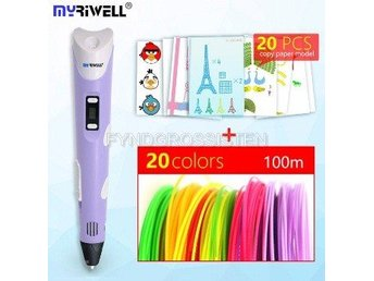 "Myriwell 2nd Generation LED DIY 3D Pen ""purple A100m 20mode"" Fri Frakt Helt Ny"