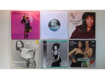 WHITNEY HOUSTON, DONNA SUMMER mm. OBS! 6ST VINYLSINGLAR