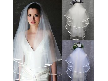 2T Bröllop Bridal Veil Satin Edge Comb Elbow Simple Cathedral ELFENBEN/IVORY