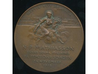 Person medalj 1918 brons 50mm