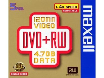DVD+RW Inspelbar DVD Maxell 4,7GB CD-ask 5-pack