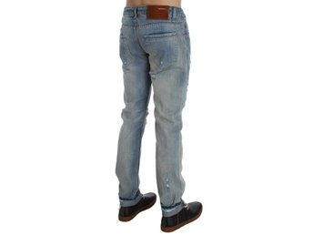 ACHT - Blue Wash Torn Denim Cotton Slim Fit Jeans