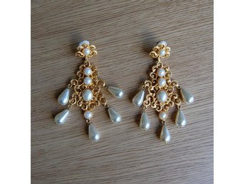 Kenneth Jay Lane Pearl Filigree Drop Earrings