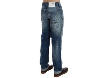 ACHT - Blue Wash Torn Denim Cotton Regular Fit Jeans