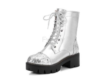 Dam Boots Booties New Botas Feminips Punk silver fur 34
