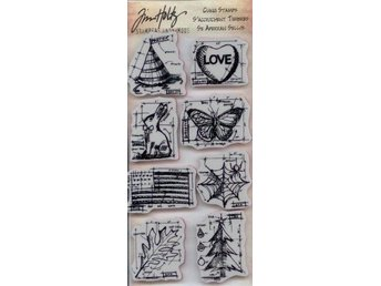Tim Holtz  HAPPY EVERYTHING BLUEPRINTS, 8st Cling Stamps