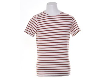 Bläck, T-shirt, Strl: M, Core french stripe o-neck, Vit/Brun, Bomull