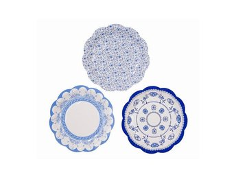 Pappersassietter, Party Porcelain Blue