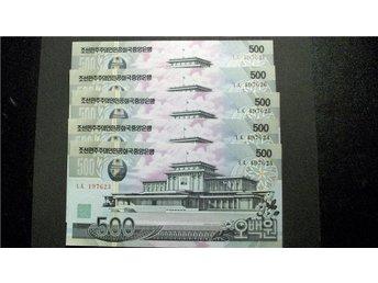 (Nk-6) NORD KOREA 500 WON 2007 UNC 5 Stycken - Luleå - 500 WON 2007 UNCAssembly Hall; suspension bridge5 Stycken i nummerföljd Samfrakt ett portopris - Luleå