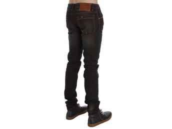 ACHT - Brown Wash Cotton Stretch Slim Fit Jeans