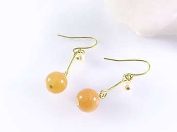 Round Stone Earrings Aventurine (Peach)  L