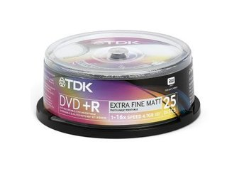 TDK DVD+R 16x Inkj. Cakebox 25-pack