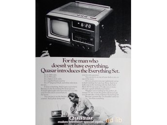 QUÁSAR - THE EVERYTHING SET, MAKES TV SPECIAL AGAIN, TIDNINGSANNONS Retro 1978