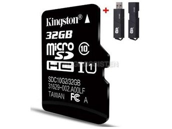 "Kingston TF Micro SD-kortminneskort ""P4TFC10 32G + 2in1 Read"" Fri Frakt Helt Ny"
