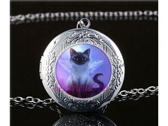 Fairy katt Photo Cabochon Glass Tibet Silver Chain Locket Hängsmycke Halsband
