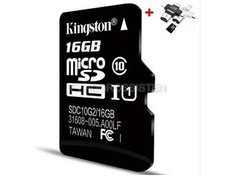 "Kingston TF Micro SD-kortminneskort ""P3TFC10 16G + 4in1 Read"" Fri Frakt Helt Ny"