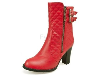 Dam Boots Zip Metal Buckle Warm Plush Warm Botas Red 34