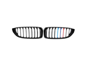 Car Pair Gloss Black Front Grilles M color Strip For BMW ...