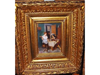 Antique French painting gallant scene from 19th century, signerad!