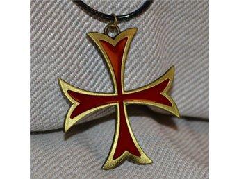 """Assassins Creed Halsband Templar """"Tempelriddare"""" Kors Röd, Brons m. Läder Ny - Hässleholm - Assassins Creed Halsband Templar """"Tempelriddare"""" Kors Röd, Brons m. Läder Ny - Hässleholm"""