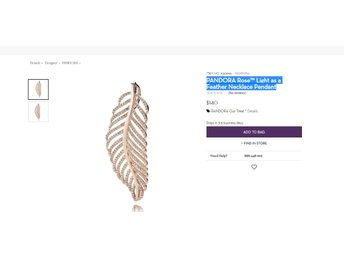PANDORA Rose™ Light as a Feather Necklace Pendant NY Rek:- 140 USD