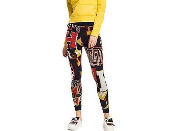 NY Tommy HIlfiger Collection Leggings tights stl S multifärgad Logo stretchig