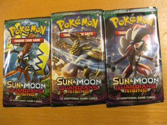POKEMONPAKET GUARDIANS RISING SUN & MOON - 3 ST OÖPPNADE BOOSTER PAKET POKEMON