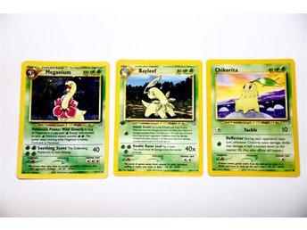 Meganium (Holo/Foil) (11/111), Bayleef (29/111) & Chikorita - Pokémon kort - Karlstad - Meganium (Holo/Foil) (11/111), Bayleef (29/111) & Chikorita - Pokémon kort - Karlstad