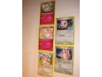 WIGGLYTUFF JIGGLYPUFF  5 st NYA  RARE  HOLO  FOIL  ÄLDRE mm.