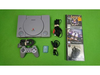 Playstation 1 Basenhet med 3 Spel konsol ps1 psx