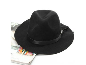 Women Ladies Wool Blend Belt Bowler Trilby Fedora Cap Wid...