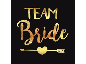 """Team Bride"" & ""Bride"" Metallic Guld Temporära Tattoos Bachelorette Möhippa 12st"
