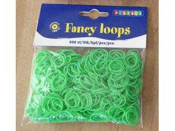500 st Fancy Loops Gummiband, GRÖN