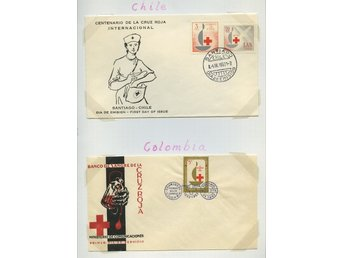 LOT T3610 / RED CROSS - RÖDA KORSET / SYDAMERIKA / TVÅ ILLUSTRERADE  BREV.